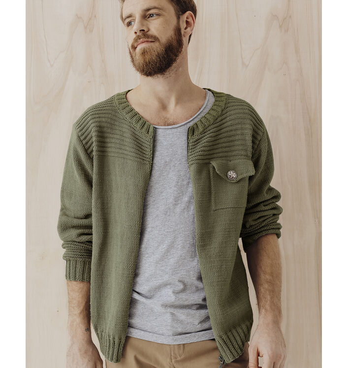Modèle Pull Homme Phil Ecocoton Army