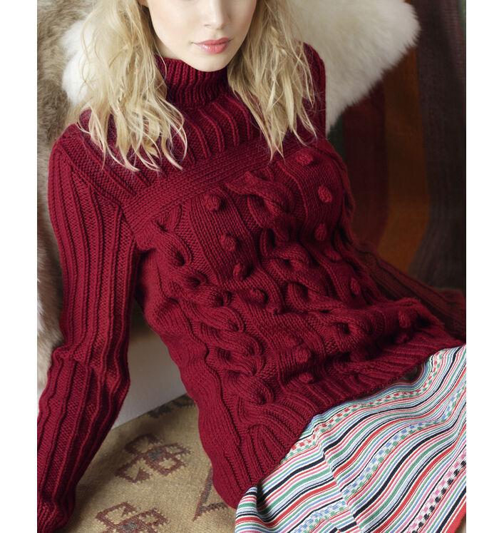 Modèle pull irlandais rouge femme